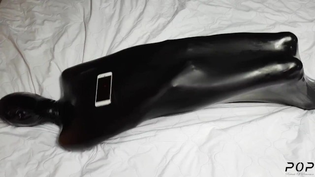 Girls latex breath play - Miss perversion trapped, teased breath controlled in a latex sleepsack