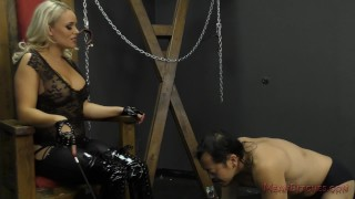 Mistress Alexis Monroe Makes Her Slave Worship Her Ass & Feet