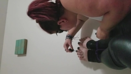 Bound Sissy get toes painted and has to jerk off in stockings for mistress