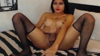 Tranny Babe Masturbating In Front Of A Cam