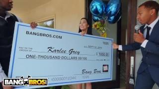 BANGBROS Karlee Grey Wins Big, Takes On Two Monsters of Cock!