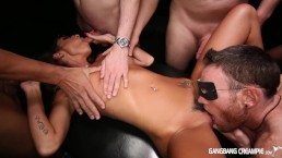 NERDY Babe Dava Foxx gets her First GangBang and takes Creampies