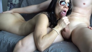 Blowjob dick ride brunette make friend of her and hot sensual huge  on cock veronika