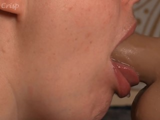 Deepthroat and Tongue With Clear Lipgloss Closeup Gagging Drooling