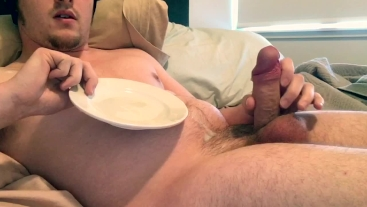 Milking Cock onto Plate TWICE, Cumslut eats and Erupts during CEI.