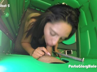 Latina swallowing cum in public parking lot