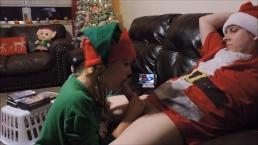 Hot elf strokes the north pole