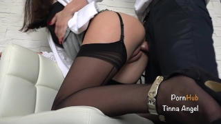 Secretary Fucked By Her Boss, Squirt, Creampie Close masturbating