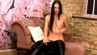 Gold and masturbates pussy brunette off toy strips catsuit leather spreads petite amateur