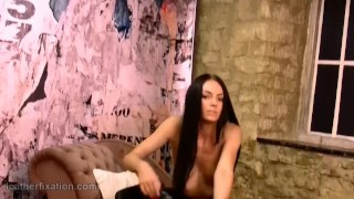 Brunette strips off leather catsuit spreads pussy and masturbates gold toy Big nurse