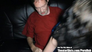 Tall Lactating Brunette Slut Gang Fucked in Theater