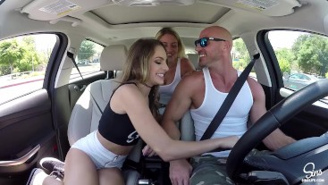 Hot Couple Picks up School Girl, Road Head, 3some and Dual CreamPie ensues!