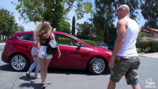 Hot Couple Picks up School Girl, Road Head, 3some and Dual CreamPie ensues! Bound humiliation