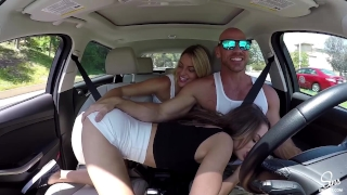 Hot Couple Picks up School Girl, Road Head, 3some and Dual CreamPie ensues! Shaved young