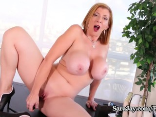 Busty Milf Sara Jay Gets Horny At Lunch And Cums Hard!