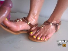 HandJoy * Cumshot on sexy oiled with and sandals * request by sneakercummer