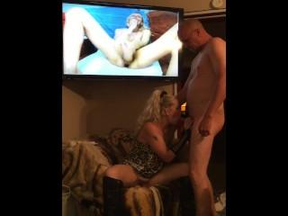 me sucking cock while riding a 12 inch dildo to the balls