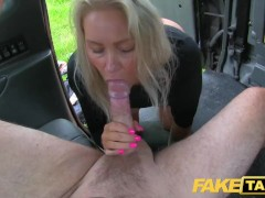 Busty sexy blondes tight holes stretched and fucked in cab
