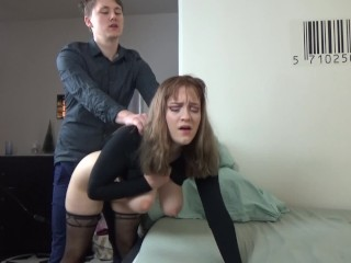 Preview 6 of Young couple have rough clothed sex