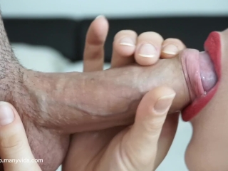 RED LIPSTICK BEST BLOWJOB EVER EXTREME CLOSE UP LICK AND SWALLOW CUM