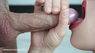 Cum up best blowjob and close swallow ever red lick lipstick extreme european swallow