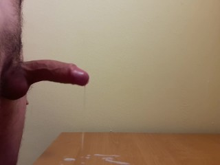 Uncut dick cumshot on desk