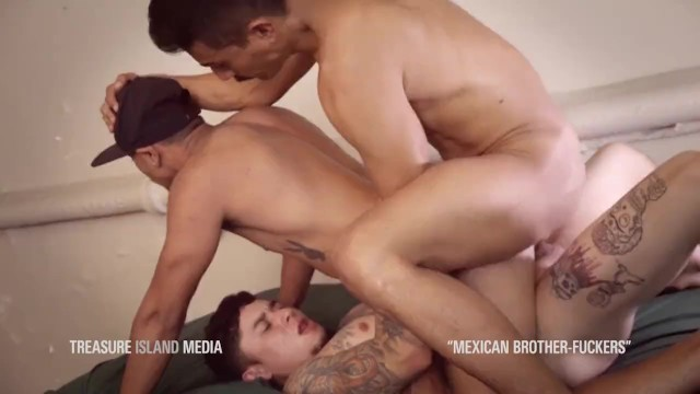 Mexican gay cum - Mexican brother-fuckers double anal threesome
