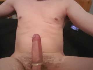 Fucking my ass with a vibrator. Tied balls vock ring and lots of cum