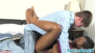 Black tgirl cockriding after sensually kisses