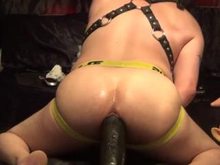 Enjoying the 5 pounder dildo and XXL Butt Plug
