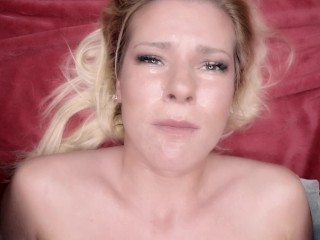 Hardcore Pov eye contact facefuck and cum swallow of helpless amateur cutie