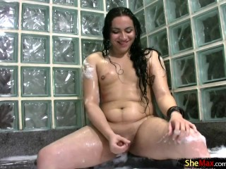 Teen chubby tgirl strokes thick shaft and shoots big cumload