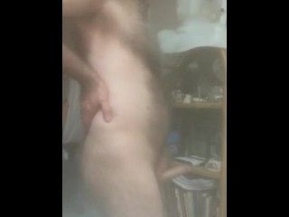 Stroking big hard cock