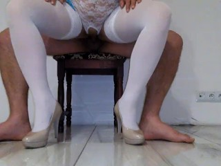 White stocking nurse, deep fuck, cum shoot inside her vagina