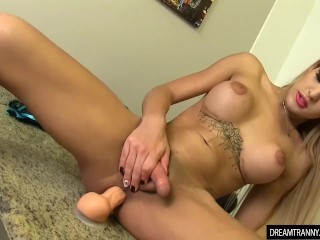 Tempting Tgirl Victoria Neves Masturbates and Fucks Herself with a Dildo