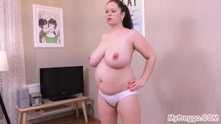 Busty Pregnant Sirale Exercises Naked!