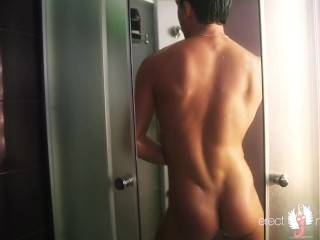 Wet smooth guy showering in jockstrap, masterbating and cumming in dance