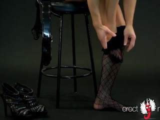 Girl or man in tights and in high heels?