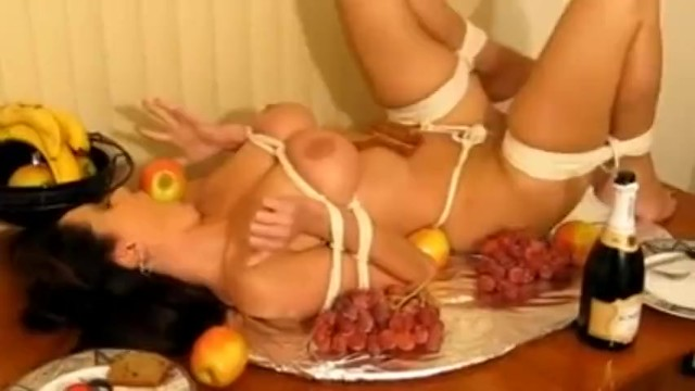 Girl Tied Like Turkey And Ball Gagged On Table Cc -2201