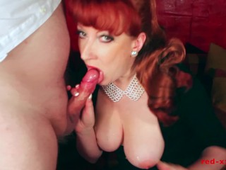 Les Femmes Erotiques Sexy Milf Red Takes A Huge Load On Her Tits, Big Tits