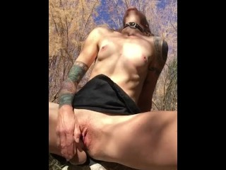 Dripping Wet Pussy Masturbation with Big Cock and Balls Dildo
