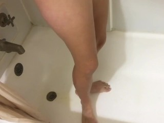 Pissing Down Body in Shower