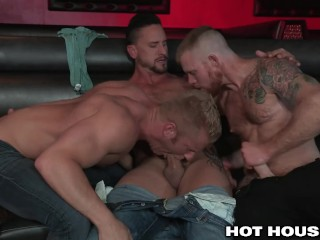 Santa clause and helpers pummel 3 steaming bi-otches in handsome hook-up