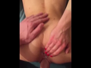 Teen's tight pussy grips onto huge cock while playing w asshole