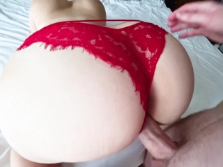 Fuck through red panties in hotel room