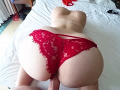 Fuck through red panties in hotel room