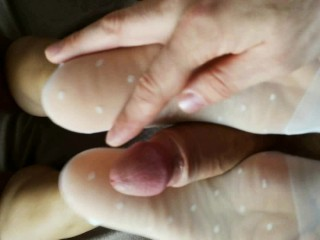 footjob and cumshot on the ass