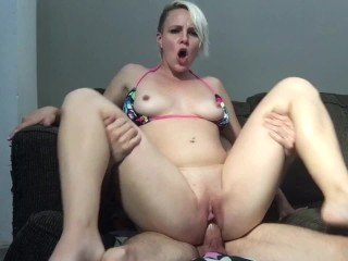After Beach Bikini Blonde Riding Quickie and Big Cum Load On Her Ass