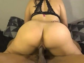 Bubble butt daughter fucks her step-dads new employee, ride's cock like pro