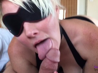 Bondage Kitty Foot, Hand, And Mouth Sloppy Blow Job and Cum Everywhere